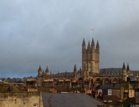 Bath Abbey, seen across the chimney pots from our apartment window