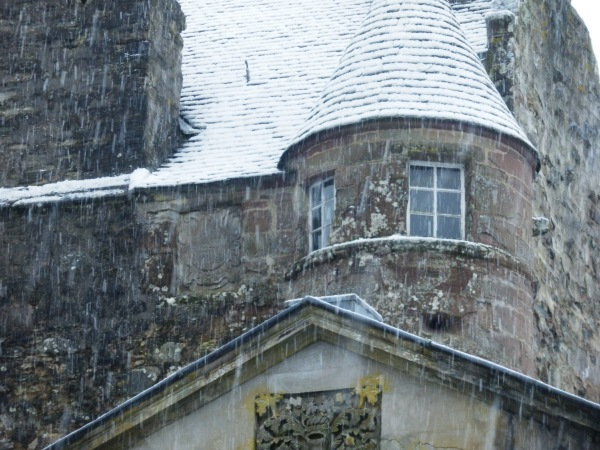 Snowing at the castle