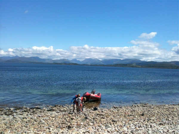 Beaching the boat on a tiny island in the Linn of Lorne, Argyll, July 2014