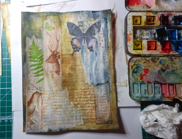 Over that went layers of washi tape, stampings, cut paper etc. to suggest other aspects of life (flora, the written word, music, fauna)