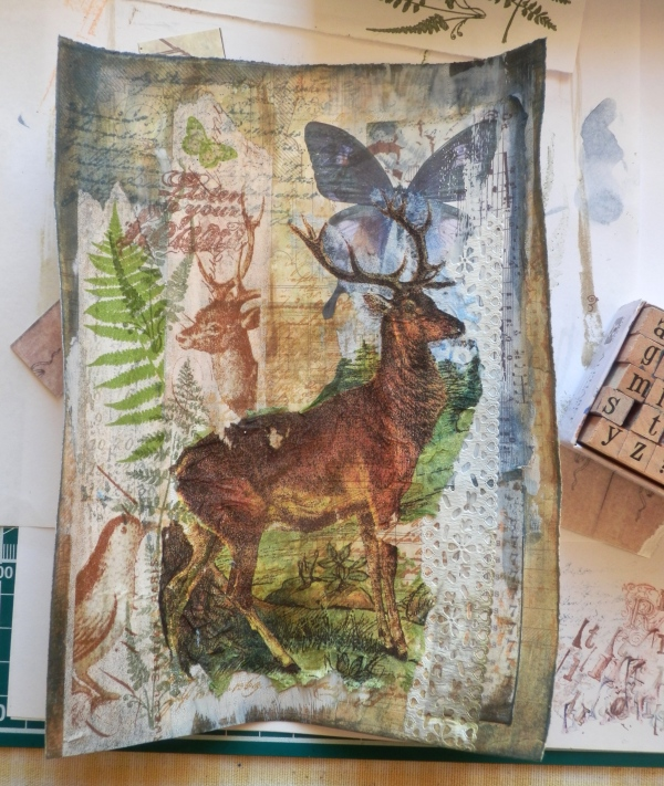 The central image, the stag, is torn from a paper napkin and stuck down with difficulty (!) and PVA glue.