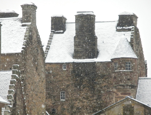 Snow picks out the angles of the castle's 15th Century towers and turrets.